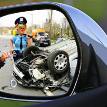 ДТП в Гомеле: Renault Megane врезался в служебный автомобиль ГАИ