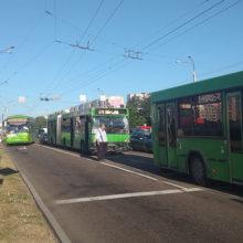 В Гомеле два городских автобуса не поделили дорогу