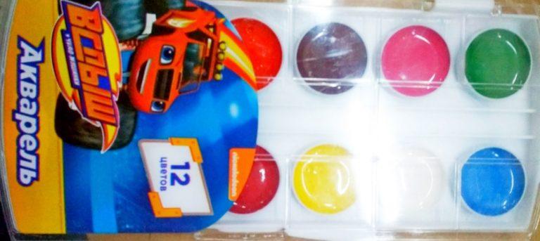 Акварель торговой марки Blaze and the Monster Machines украинского производства, 12 цветов с маркировкой «Вспыш и чудо-машинки»