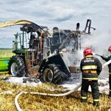 Фотофакт: в Рогачевском районе сгорел комбайн
