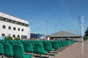 В Гомеле возле Ледового начался монтаж фан-зоны для II Европейский игр