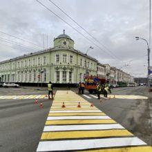 В области появился первый диагональный пешеходный переход