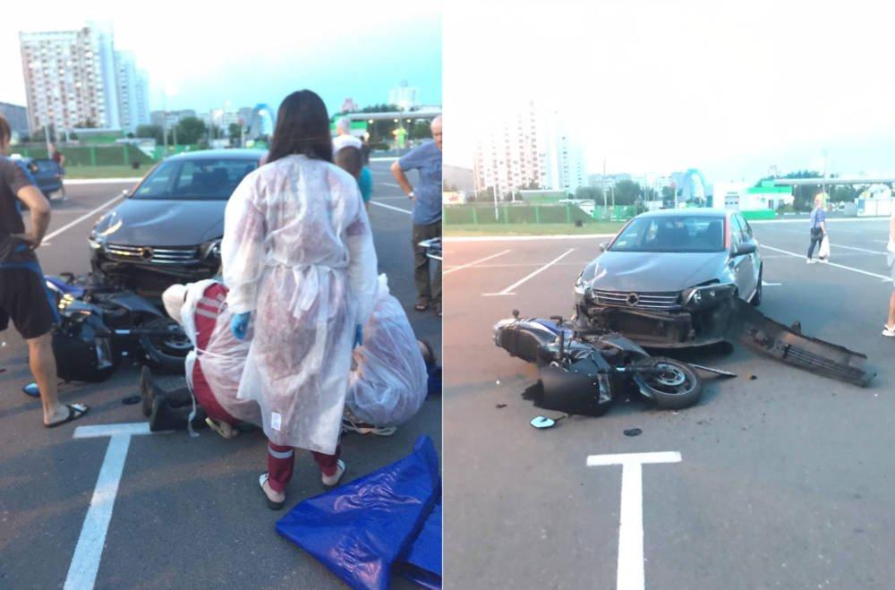 Гомельчанин взятым напрокат авто по-глупому сбил мотоциклиста