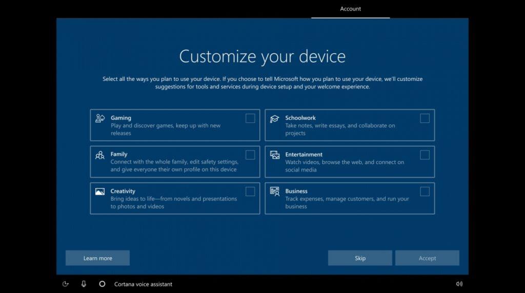 Новая сборка Windows 10 будет интересоваться, кто ее будет использовать